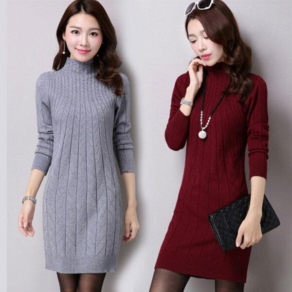糖衣子輕鬆購【HY9300】韓版潮流時尚百搭顯瘦半高領針織包臀長版上衣連身裙