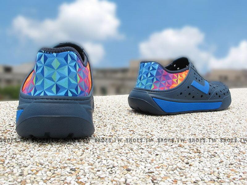 《限時特價79折》Shoestw【72U1SA66DB】PONY 洞洞鞋 水鞋 可踩跟 新款 懶人拖 深藍七彩菱格 男女都有 2