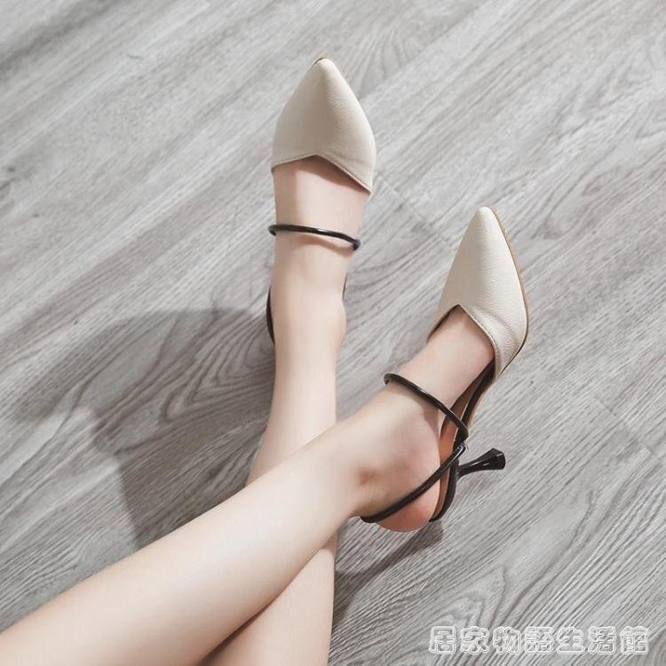 包頭半拖鞋女夏時尚外穿細跟高跟穆勒鞋社會ulzzang涼拖  居家物語