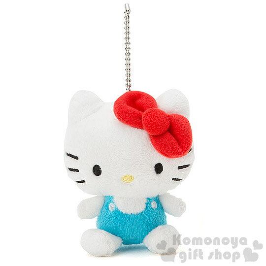 〔小禮堂〕Hello Kitty 造型絨毛娃娃吊飾《藍白.吊帶褲.坐姿.附珠鍊》