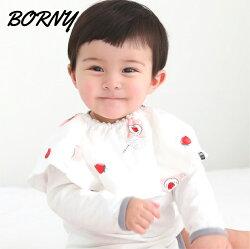 韓國【Borny】360度旋轉圍兜 / 口水巾-小草莓(紗質)