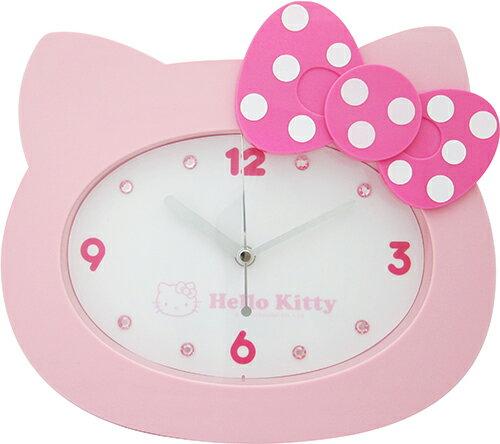 【真愛日本】14071100026 經典頭型掛鐘-粉結白點 三麗鷗 Hello Kitty 凱蒂貓 時鐘 壁鐘