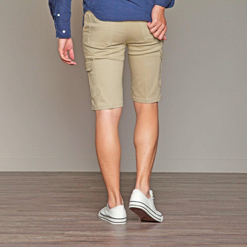 KASO 經典卡其 多口袋彈力休閒短褲( 中大尺碼 休閒 短褲 男性 夏天 Cargo Shorts) 5