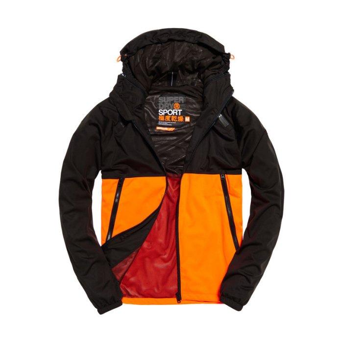 美國百分百【全新真品】Superdry 極度乾燥 風衣 連帽 外套 防風 網眼 運動 夾克 黑色/橘色 S號 H720