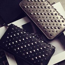 新款女士錢包潮歐美個性復古鉚釘長款錢夾休閒拉鍊皮夾手拿包 時尚潮流