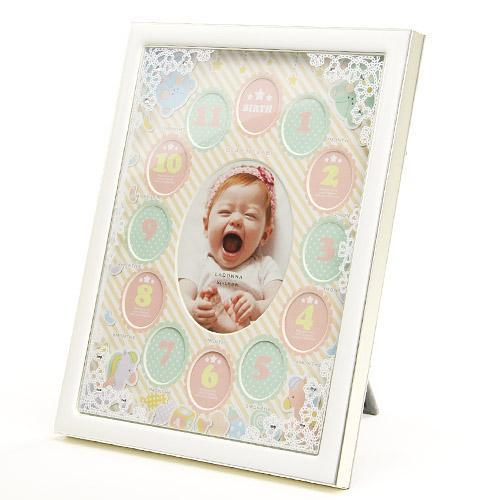 【百倉日本舖】日本進口 童趣條紋水鑽寶寶相框/寶寶12個月相框