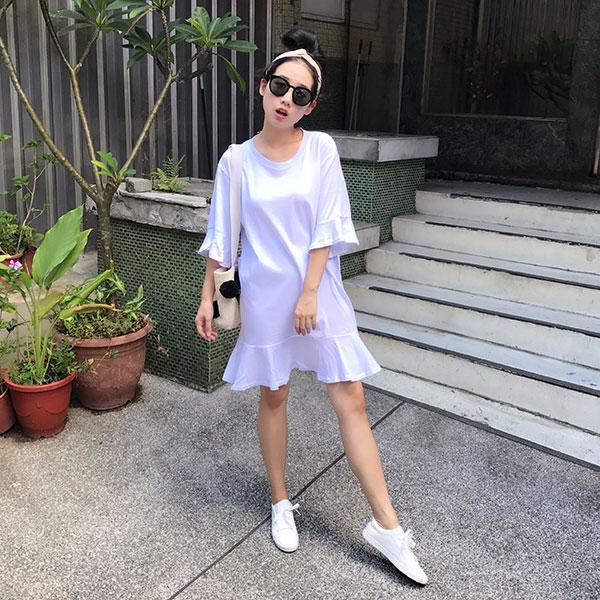 棉質 魚尾 洋裝 荷葉袖 五分袖 連身裙 連衣裙 長版 T 素面 休閒 彈性 寬鬆 顯瘦 黑白粉 韓 ANNA S.