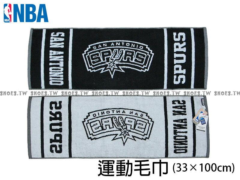 Shoestw【8531502-020】NBA毛巾 純棉 運動毛巾 方形毛巾 街頭籃球 33CMX104CM 馬刺隊
