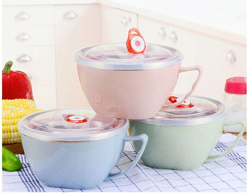 碗 雙層隔熱碗 不鏽鋼碗 保鮮碗 304不銹鋼 廚房大號1200ML 防燙 304不鏽鋼 泡麵碗【AN SHOP】