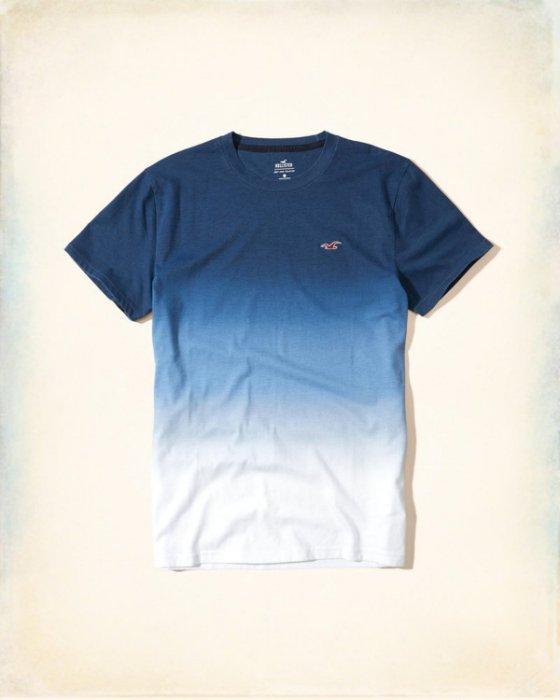 美國百分百【Hollister Co.】T恤 HCO 短袖 T-shirt 海鷗 logo 深藍漸層 S M號 H924