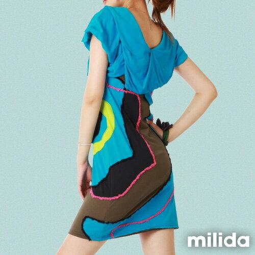 【Milida,全店七折免運】-夏季商品-V領款-氣質拼貼設計 2