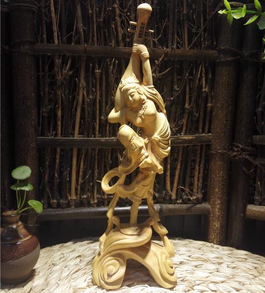 小葉黃楊木精致居家裝飾品雕刻工藝品敦煌飛天仕女反彈琵琶擺件1入