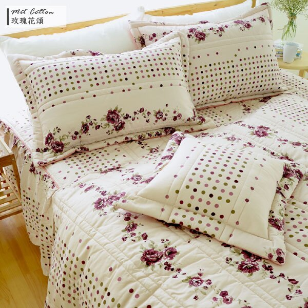 床罩組/雙人【玫瑰花頌】五件式床罩組/精梳棉,台灣製 絲薇諾