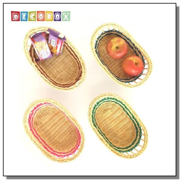 DecoBox鄉村風藤編橢圓彩色麵包盤(4個)(收納籃,麵包籃)