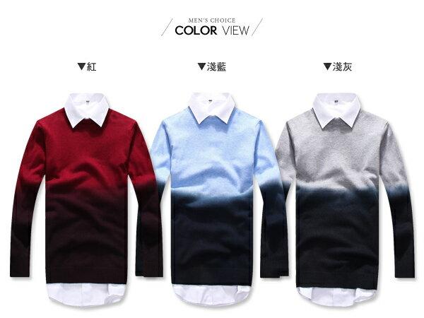 ☆BOY-2☆【PPK86032】情侶視覺系圓領雙色漸層針織長袖毛衣 1