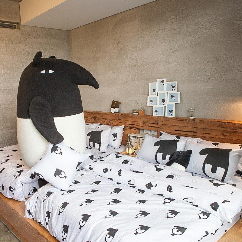 床包被套組  /  雙人-100%精梳棉【經典黑白款-馬來貘的日常】含兩件枕套 獨家人氣插畫家 聯名款 戀家小舖 台灣製 5