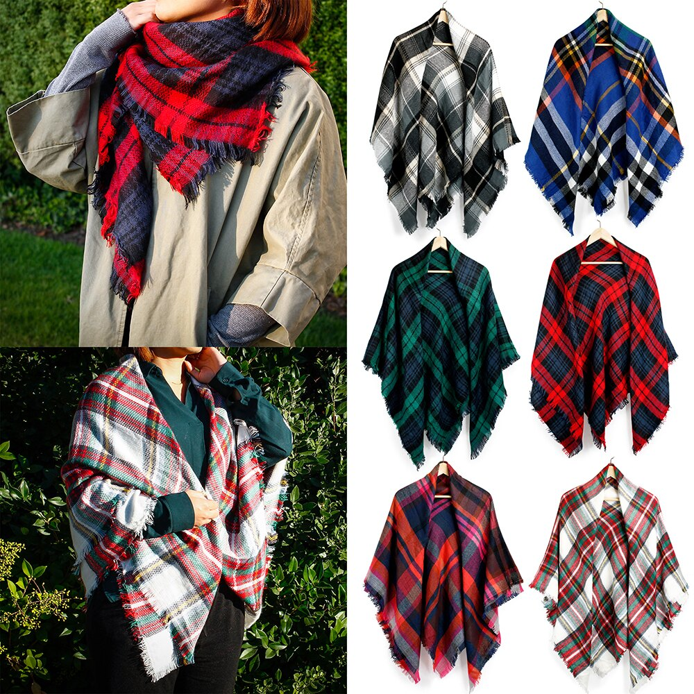 Women Plaid Scarf Tartan Wrap Lattice Large Warm Cozy Blanket Soft Shawl Checked Winter Scarfs for Women 0