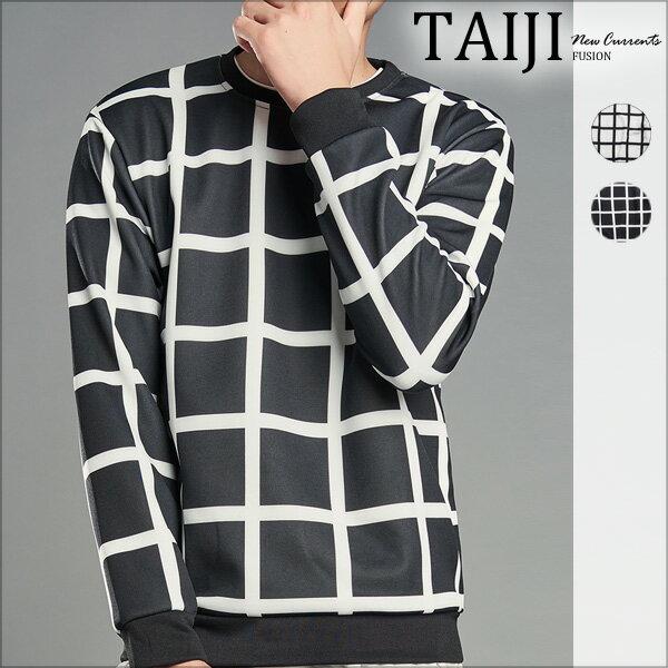 TAIJI:大尺碼長T‧滿版格紋圓領棉質落肩上衣‧二色‧加大尺碼【NTJB870】-TAIJI-