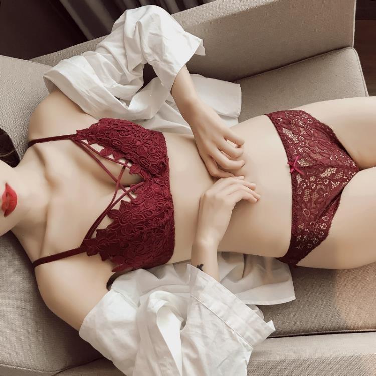 送內褲性感蕾絲邊無鋼圈薄款文胸罩綁帶內衣酒紅色 凡卡時尚