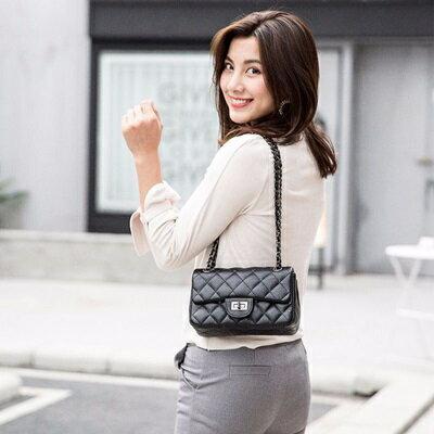 肩背包菱格側背包-時尚優雅鏈條小方包女包包2色73sb40【獨家進口】【米蘭精品】