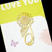 向日葵 書籤 18K金 簍空 金屬 雕花 水果 黃金 夾子 籤 葉子 禮品 書