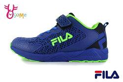 FILA 中大童 運動鞋 鏤空雕花 機能鞋 輕量慢跑鞋 O7673#藍色◆OSOME奧森鞋業