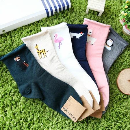 韓國捲邊動物造型襪襪子造型襪流行襪捲邊動物動物襪居家【N102616】