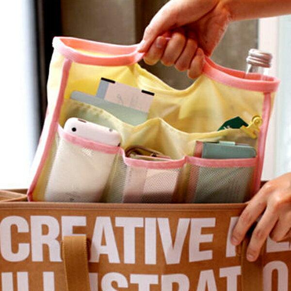 PS Mall 韓國手提式網狀多功能收納包/袋中袋/包中包/收納袋【J142】