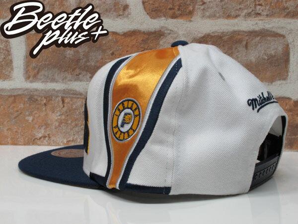 BEETLE MITCHELL&NESS NBA PACERS 印第安 溜馬 白藍黃 LOGO SNAPBACK 後扣帽 1
