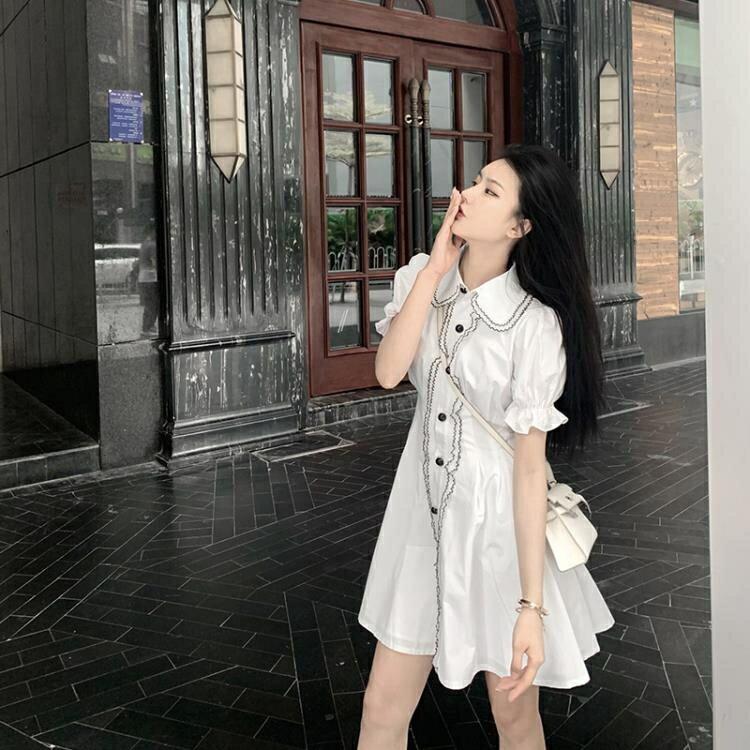 泡泡袖洋裝 法式小众复古高腰桔梗智熏森系超仙女轻熟风小香风泡泡袖洋裝夏 korea時尚記