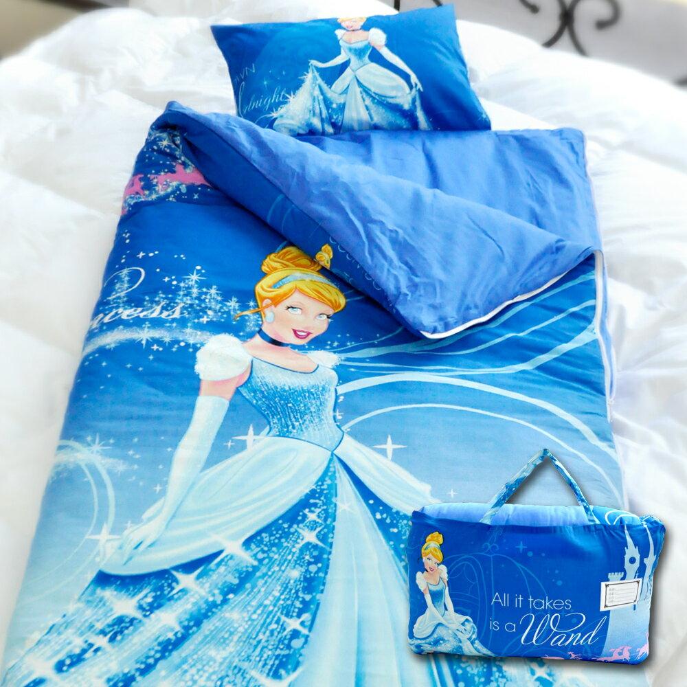 【名流寢飾家居館】迪士尼灰姑娘.100%精梳棉.兩用鋪棉兒童睡袋.全程臺灣製造