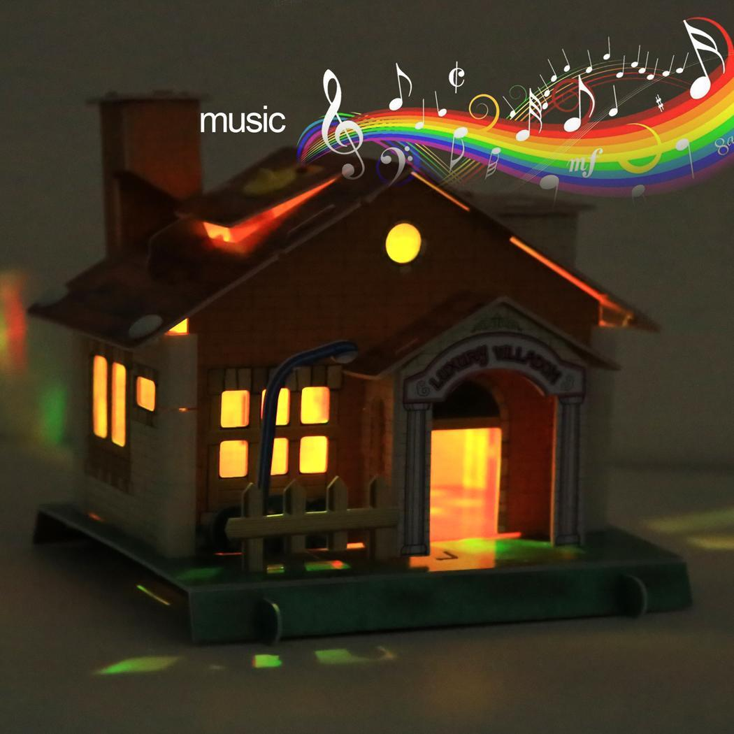Kids 3D Puzzle Light Music House Set Blocks Jigsaw Assembled Toy Kit 4