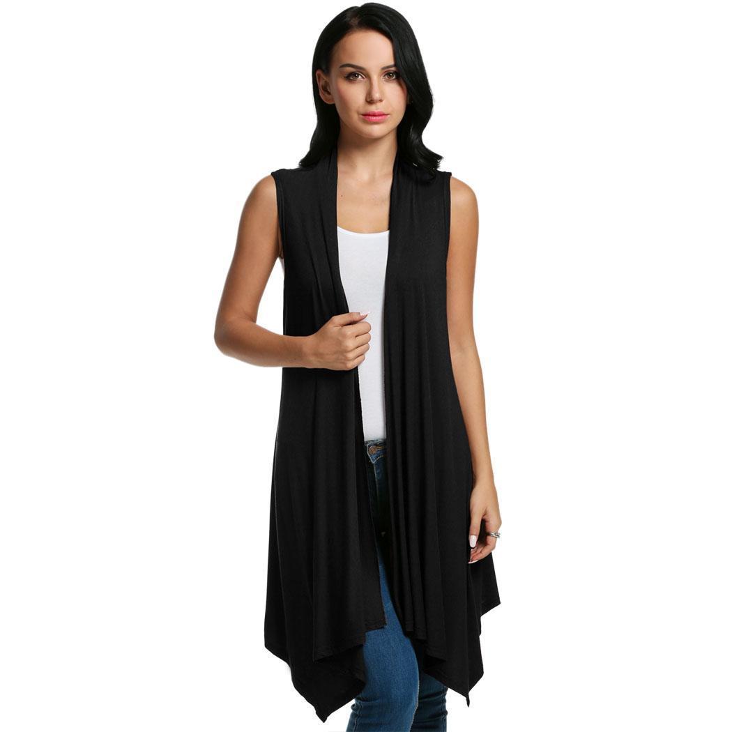 Women Sleeveless Asymmetrical Hem Open Front Casual Long Cardigan 0