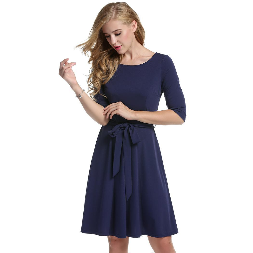 Women Casual O-Neck Solid Pleated Dress with Belt 4