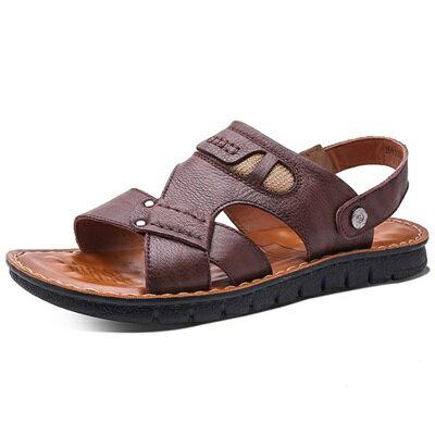 涼鞋真皮拖鞋-戶外休閒涼拖兩用男鞋子3色73sa22【獨家進口】【米蘭精品】