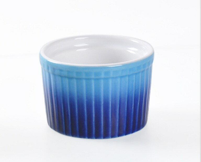 HOMA 彩色廚房 無鉛無毒 細條紋彩色烘焙烤盅 陶瓷烤杯 來自法國時尚色系 藍色一個  母親節媽媽最愛