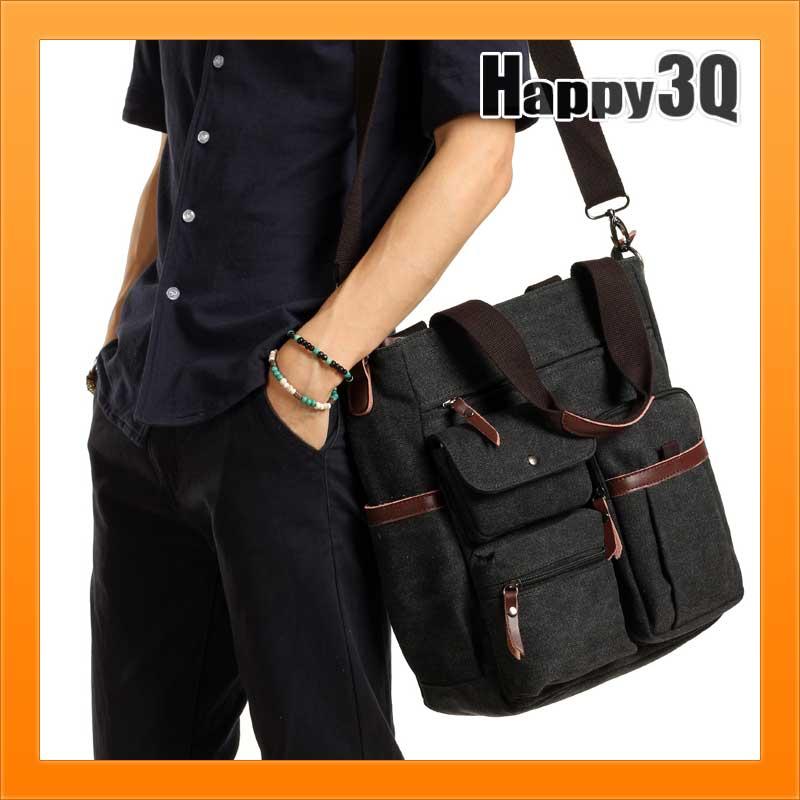 <br/><br/> 街頭潮男休閒帆布多分隔大容量書包側背包手提包-黑/棕【AAA1573】<br/><br/>