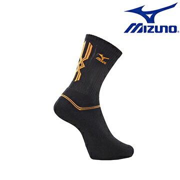 [陽光樂活] MIZUNO 美津濃 基本款男運動厚底中統襪 32TX600795 黑X橘