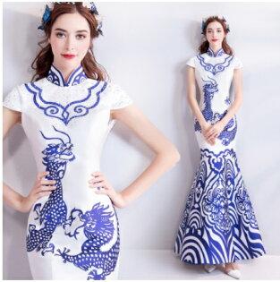 天使嫁衣【AE701】藍白波浪騰雲破浪魚尾旗袍長禮服˙預購訂製款