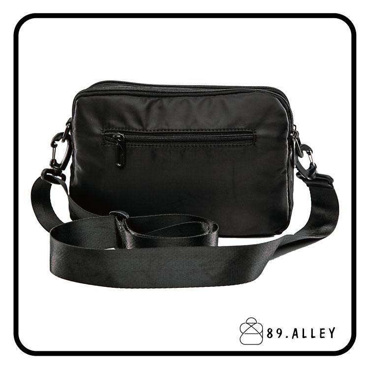 側背包 女包男包 黑色系防水包 輕量尼龍雙層鐵牌情侶斜背包 89.Alley 3