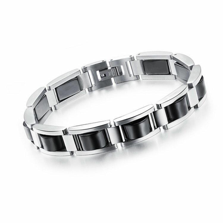 最新款時尚精美黑膽石造型男款鈦鋼磁石手鍊