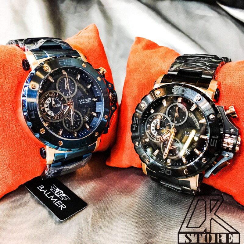 -DTK-官方授權經銷🎖實體店面 BALMER 賓馬王 賓馬7975 鋼錶帶 三眼錶 男錶 石英錶 藍金 黑金 黑 2