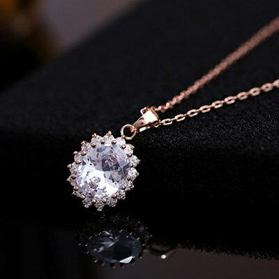 ~玫瑰金項鍊 水晶純銀吊墜~圓形鑲鑽高貴 生日情人節 女飾品73dw115~ ~~米蘭 ~