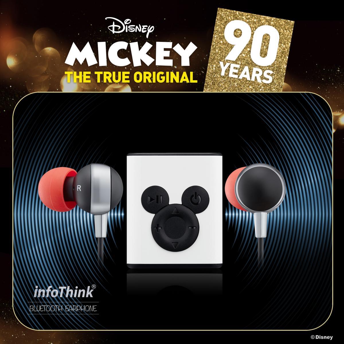 90週年Disney迪士尼infoThink 米奇系列藍牙耳機 (背面夾式設計) 重低音耳機 正版3C  一年保固