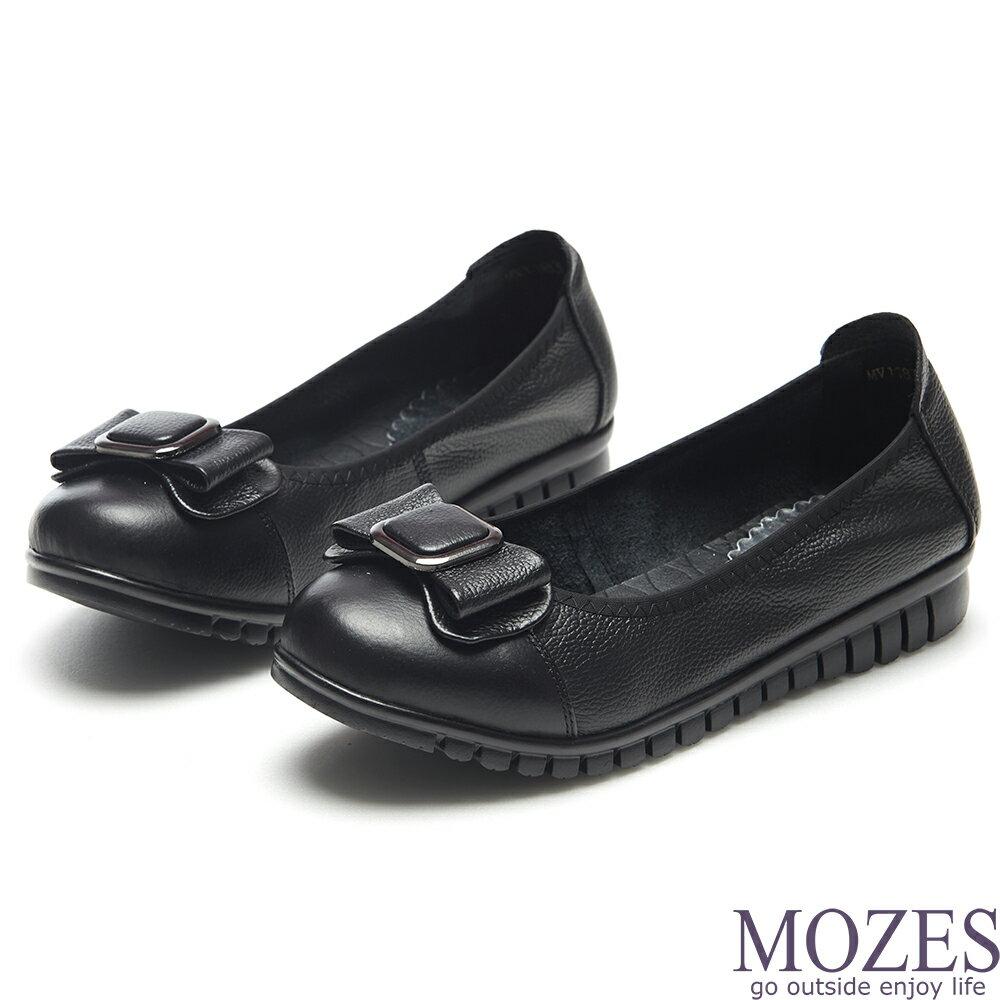 【MOZES】小牛皮蝴蝶結飾寬楦平底鞋-黑