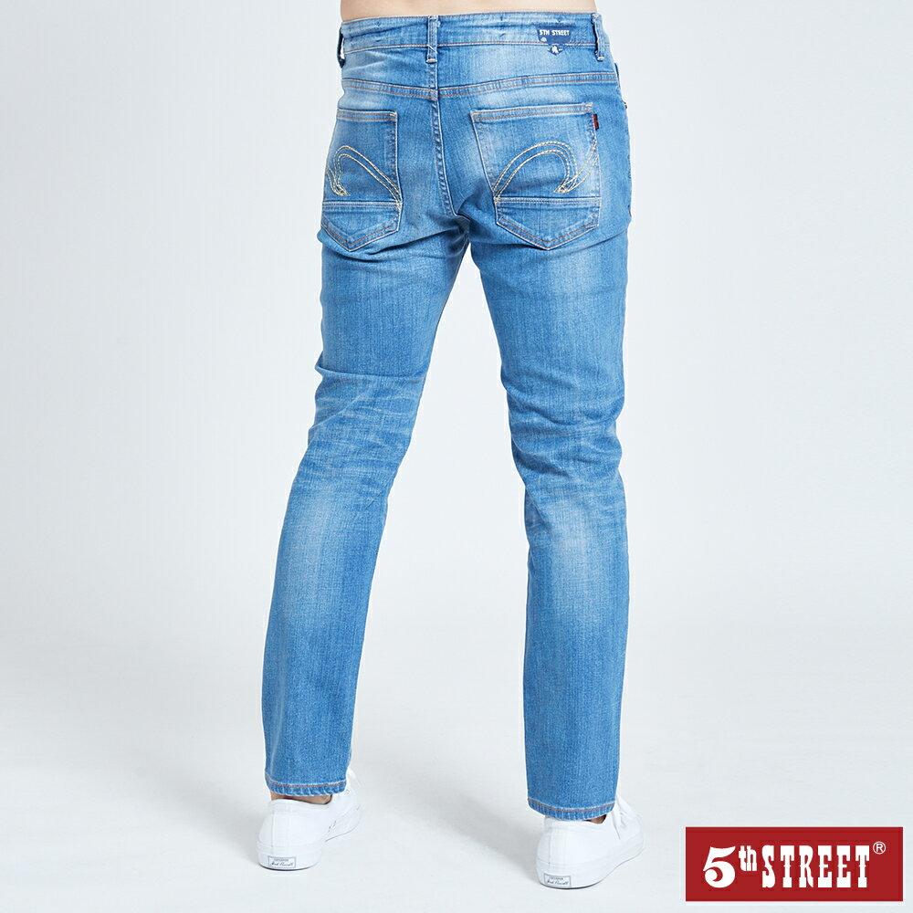 母親節禮物首選 | 【5th STREET】男刷色微破直筒褲-拔淺藍