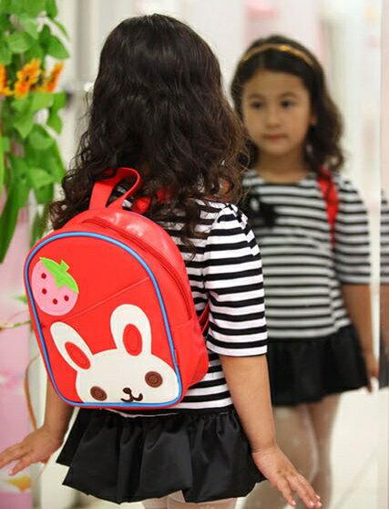 Funnimals◆可愛卡通動物水果圖案兒童書包雙肩包休閒肩背包-紅色小兔子