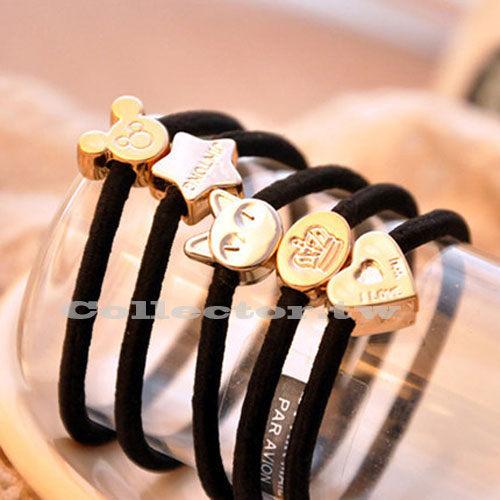 【J16010501】韓版髮飾-復古金屬綁髮圈 皇冠愛心髮帶