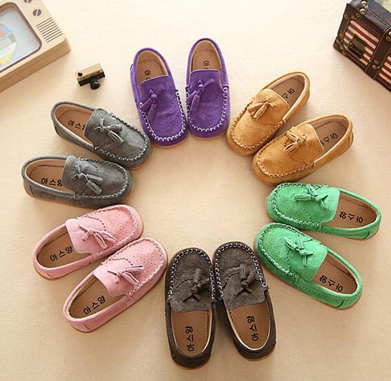兒童豆豆鞋男童女童反絨布鞋布洛克真皮童鞋