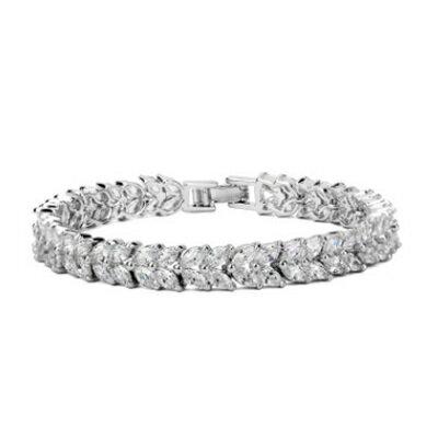 純銀手鍊 鍍白金鑲鑽手環 ~ 奢華閃亮動人生日情人節 女飾品73cv22~ ~~米蘭 ~